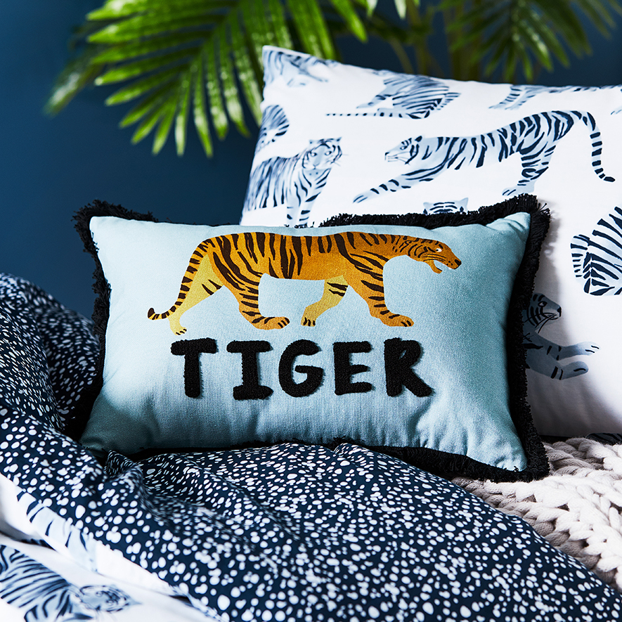 Adairs Kids Tiger Time Stonewash Navy Quilt Cover Set