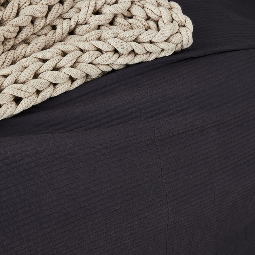 Home Republic Stonewashed Cotton Coverlet Charcoal