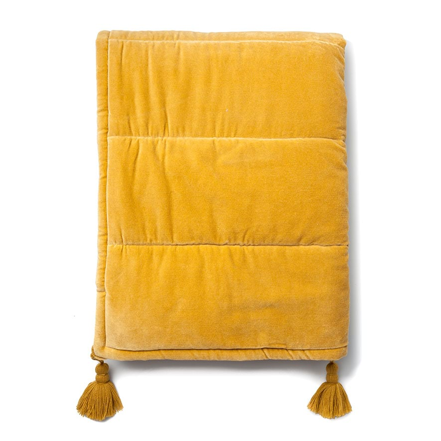 Mercer Reid Bombay Quilted Velvet Throw Mustard
